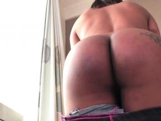 Brazilian TS masturbate her dark cock