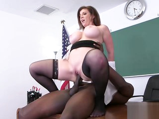 Hot slutty MILF Sara Jay sucks an enormous stiff balck cock